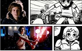 A side-by-side of Scott Pilgrim from the movie and the graphic novel.