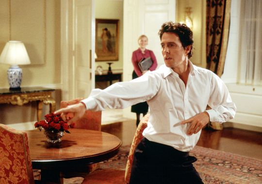 Hugh Grant also likes to dance alone in his office, as Prime Ministers are wont to do